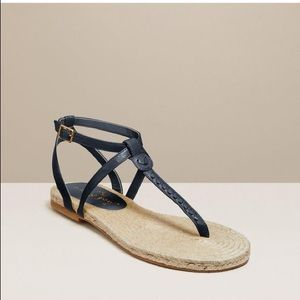 Jack Rogers Evie Leather Espadrille Thong Sandals
